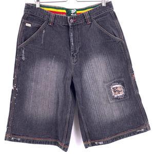 Mecca Reggae Distressed Denim Shorts 34